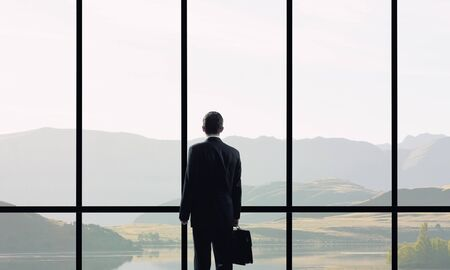 window view: Back view of businessman with suitcase looking in office window