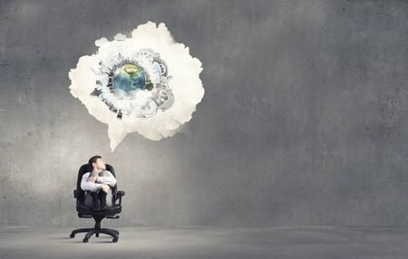 thought cloud: Businessman in chair and blank thought cloud above his head. Elements of this image are furnished by NASA
