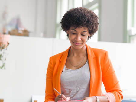 african business: Portrait of young businesswoman in office