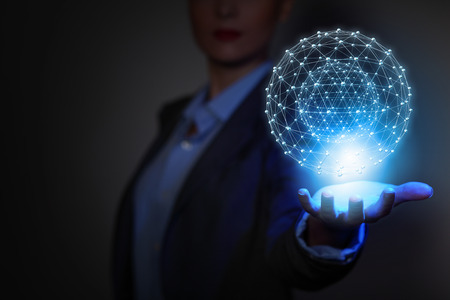 modern business woman: Global connection concept with digital planet in hands