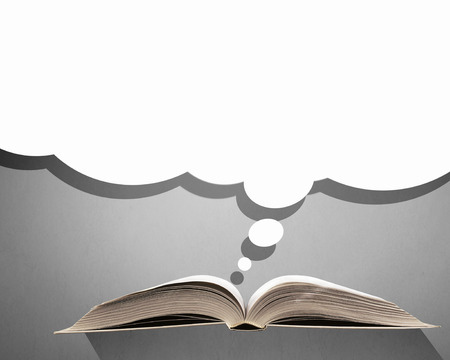 speech cloud: Opened book with speech cloud above pages Stock Photo