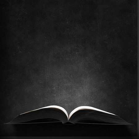 Opened book with light on pages on black background