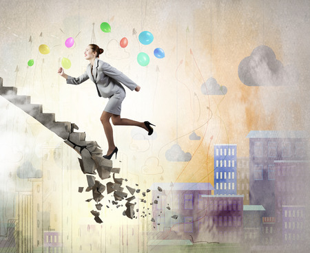 collapsing: Young businesswoman walking up collapsing staircase representing success concept