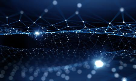 Blauwe virtuele technologie achtergrond met lijnen en rasters Stockfoto - 50225248