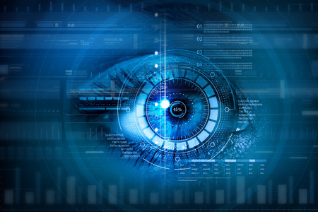 Close up of woman eye in process of scanning 版權商用圖片 - 50225613