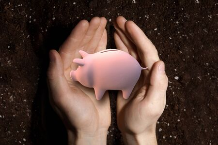 protecting your business: Close up of malepalms holding piggy bank and soil at background Stock Photo