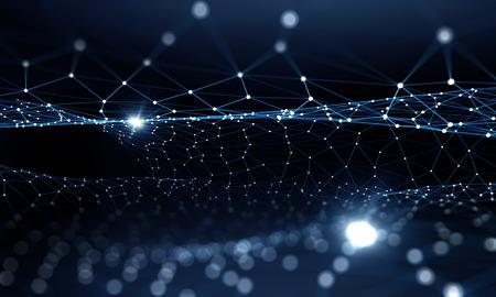 Blauwe virtuele technologie achtergrond met lijnen en rasters Stockfoto