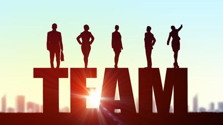 Doanh nhân đứng trên đội từ đại diện cho khái niệm hợp tác