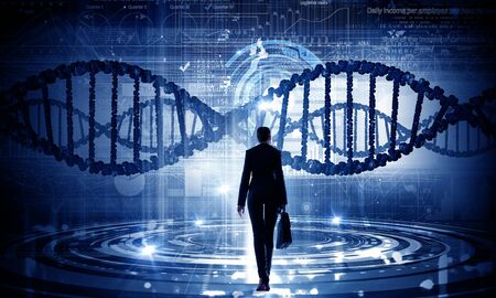 Businesswoman standing with back and virtual panel with dna spiral