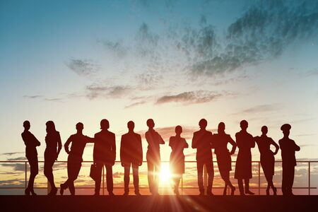 profesiones diferentes: Silueta de la gente de negocios de diferentes profesiones en el fondo la puesta del sol