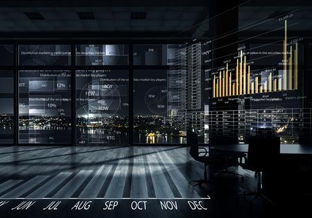 Modern loket weergave met virtuele marktplaats infographs