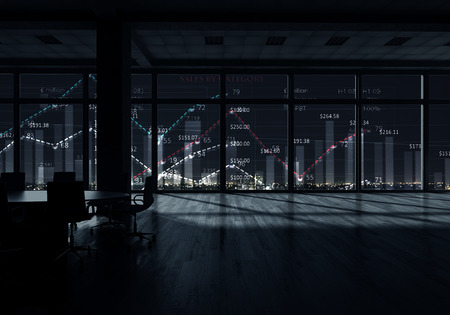 Modern office window view with virtual market infographs Stock Photo - 50231819