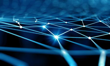 tunel: Fondo azul de la tecnología virtual con líneas y cuadrículas