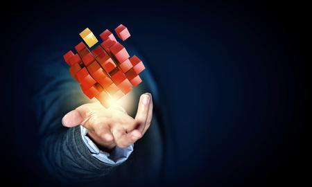 Geschäftsfrau Hand zeigt Würfel als Symbol der Problemlösung Standard-Bild - 49818418