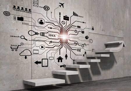 Business strategy plan over ladder leading to success Foto de archivo