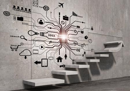 conocimiento: Plan estratégico de negocios sobre la escalera que conduce al éxito