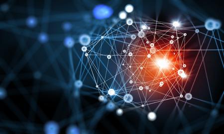藍色虛擬技術背景與線和網格