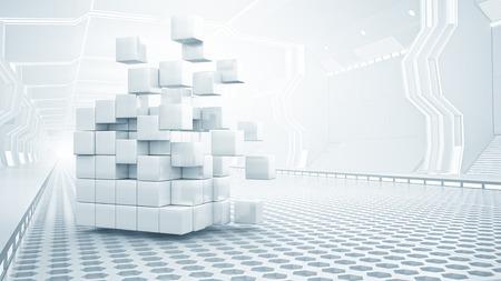 Abstract cube in futuristic room as innovative virtual interior design