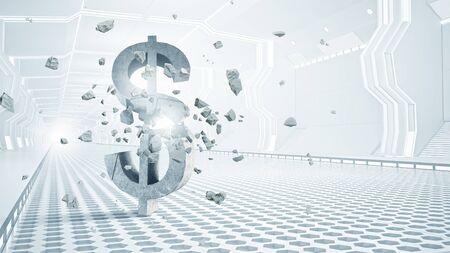 futuristic interior: Futuristic designed elegant interior with big broken dollar sign