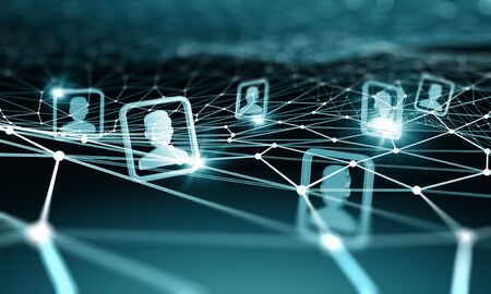 network connections: Digital technology background with social networking and interaction concept Stock Photo