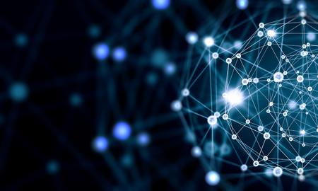 Niebieskie tło z technologii wirtualnej linii i sieci Zdjęcie Seryjne
