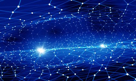 Blau virtuelle Technologie Hintergrund mit Linien und Gitter Standard-Bild - 50022608