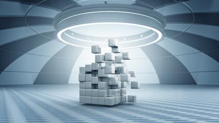 futuristic interior: Abstract cube in futuristic room as innovative virtual interior design