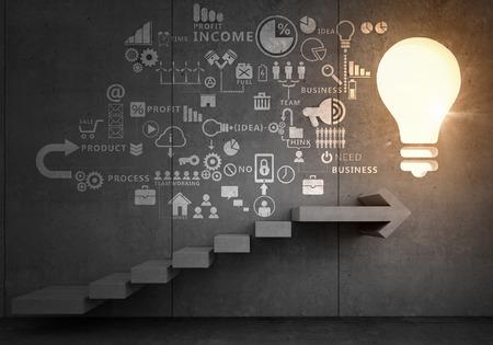 Plan estratégico de negocios sobre la escalera que conduce al éxito