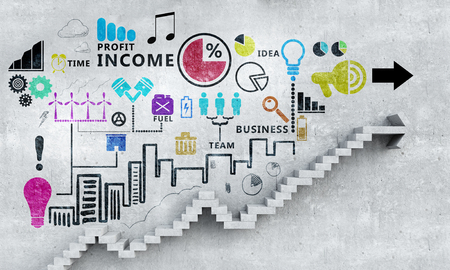 Business strategy plan over ladder leading to success Stock Photo
