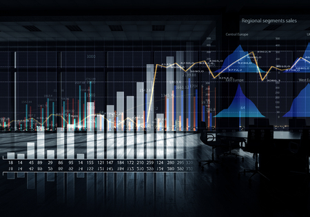 Modern office window view with virtual market infographs Stock Photo