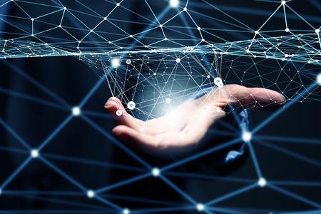 통신: 손바닥에 디지털 연결 라인을 보여주는 사업가 손