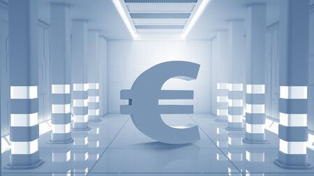 futuristic interior: Euro currency symbol in elegant futuristic interior Stock Photo