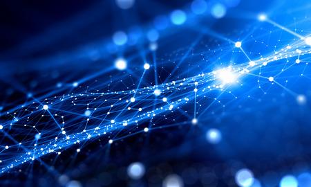 Blau virtuelle Technologie Hintergrund mit Linien und Gitter Standard-Bild - 50267165