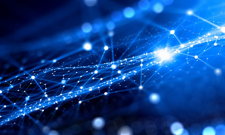 Blauwe virtuele technologieachtergrond met lijnen en netten Stockfoto