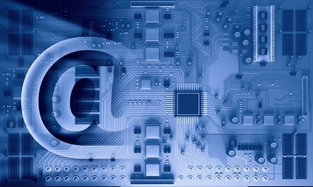 Background image with system motherboard concept and email symbol Stock Photo