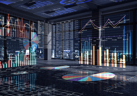 business technology: Modern office window view with virtual market infographs Stock Photo