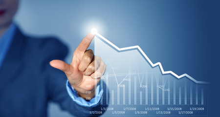 selling points: Close view of businesswoman touching screen with market infographs Stock Photo