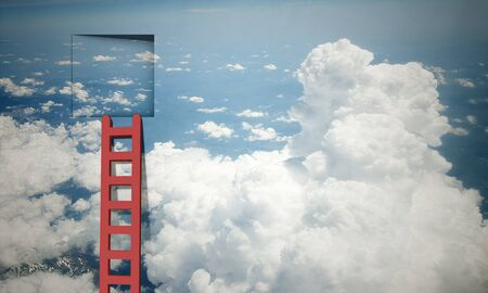 stairway: Imaginary image of ladder leading to square door in sky Stock Photo