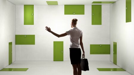 wayout: Businesswoman in room choosing one of plenty of doors