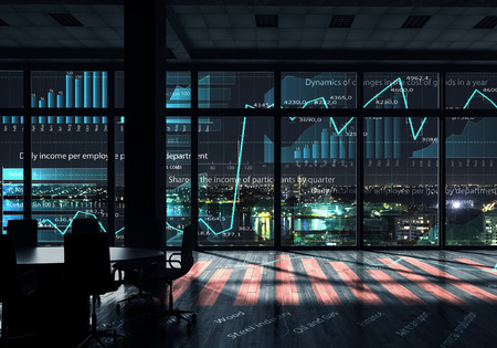 technology: Modern office window view with virtual market infographs Stock Photo