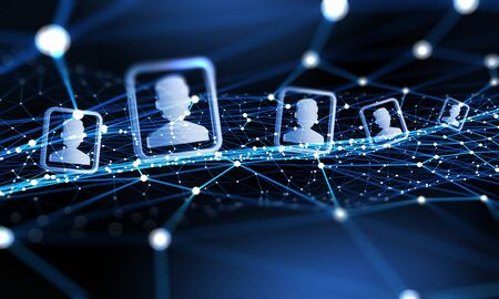 Fondo de tecnología digital con las redes sociales y el concepto de interacción