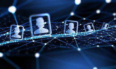 Fondo de tecnología digital con las redes sociales y el concepto de interacción Foto de archivo