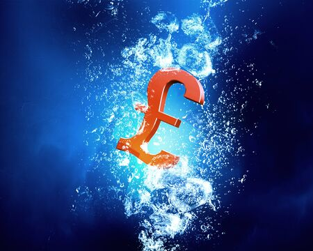 pound sign: Pound sign sink in clear blue water
