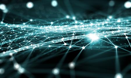 Fondo azul de la tecnología virtual con líneas y cuadrículas