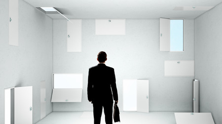 wayout: Businessman in room choosing one of plenty of doors