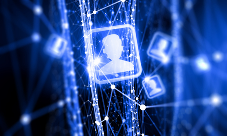 team communication: Digital technology background with social networking and interaction concept Stock Photo