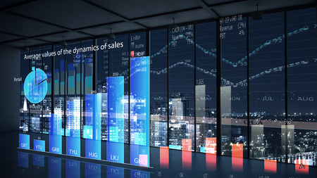 growth in economy: Modern office window view with virtual market infographs Stock Photo