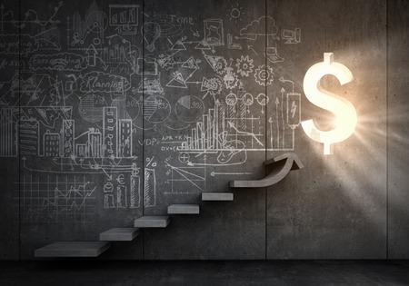 Plan de la stratégie d'affaires sur l'échelle menant à la réussite Banque d'images