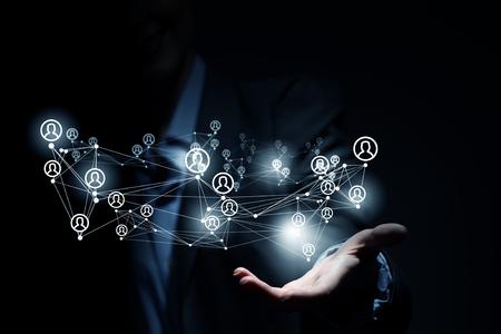 パーム ネットワーク概念の示す実業家のクローズ アップ 写真素材 - 50609653