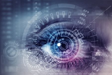 future concept: Close up of woman eye in process of scanning